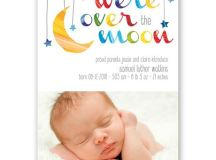 Over the Moon Birth Announcement | Invitations By Dawn