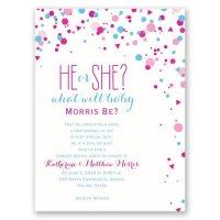 Pretty Confetti Petite Gender Reveal Invitation ...