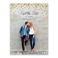 Polka Dot Glow Foil Save the Date Card | Invitations By Dawn