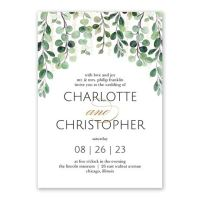 Sparkling Greenery Foil Invitation | Invitations By Dawn
