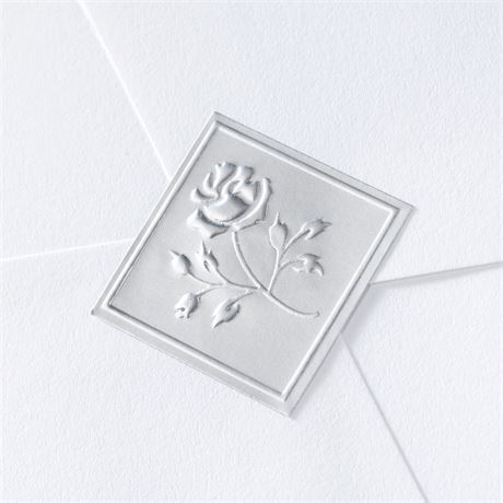 Blank Silver Embossed Rose Seal Wedding Seal Invitations By Dawn