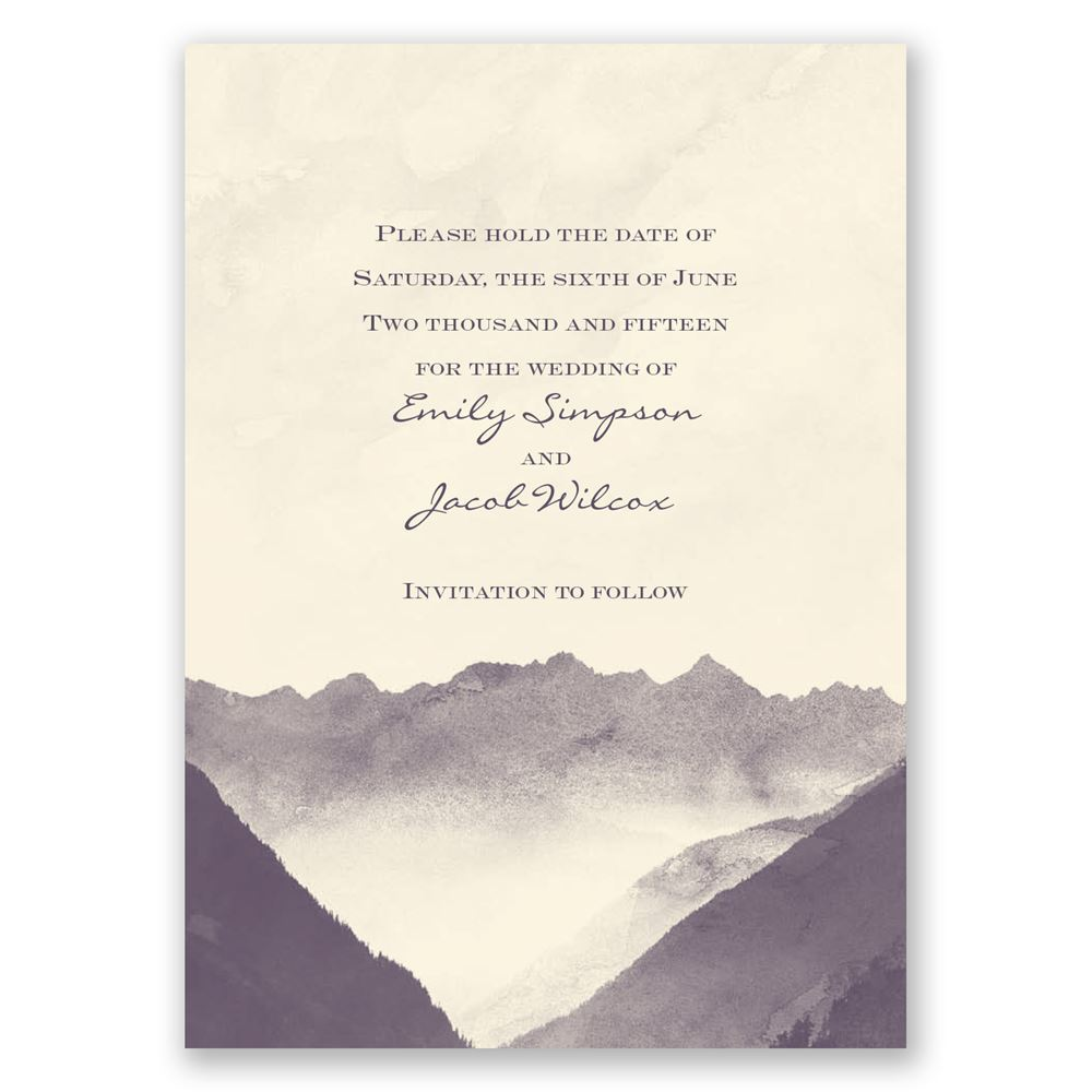 Mountain Mist Save The Date Card Invitations By Dawn