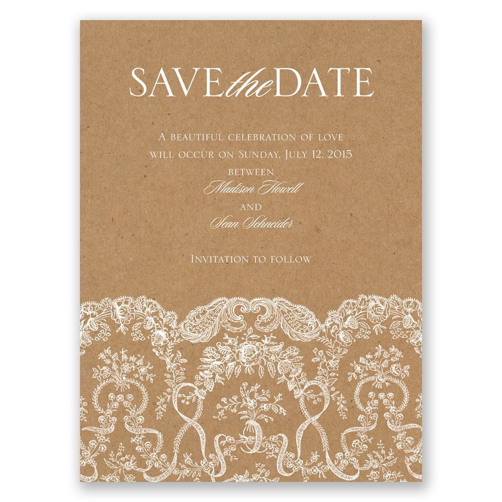 Lace On Kraft Save The Date Card Invitations By Dawn