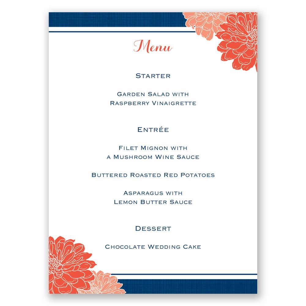 Peeking Flowers Menu Card Invitations By Dawn
