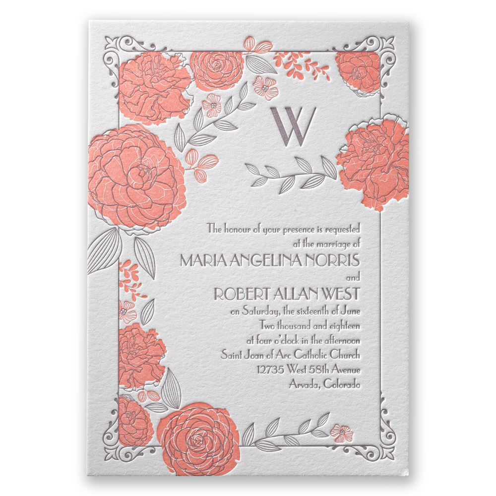 Rose Garden Letterpress Invitation Invitations By Dawn