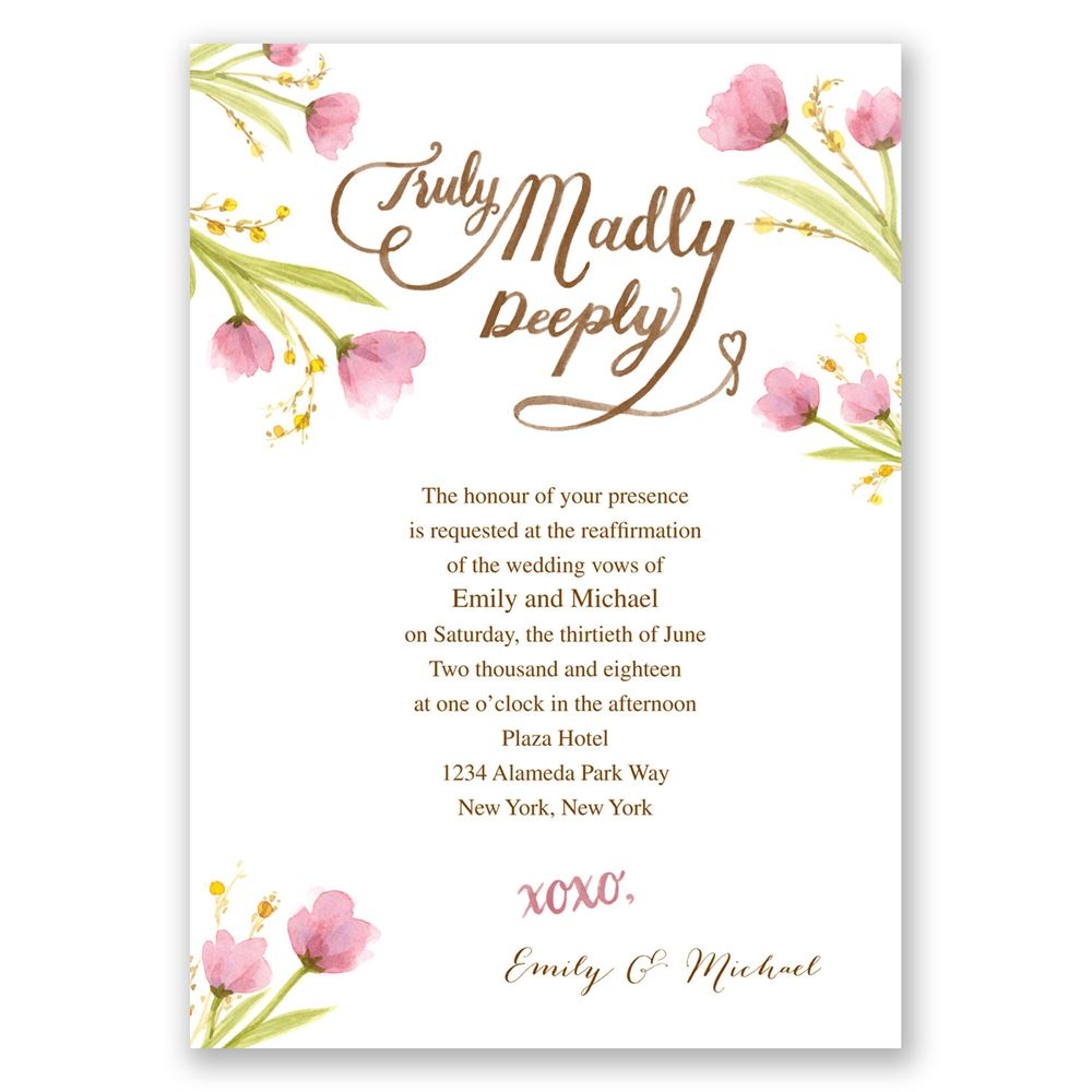 Truly Madly Vow Renewal Invitation Invitations By Dawn