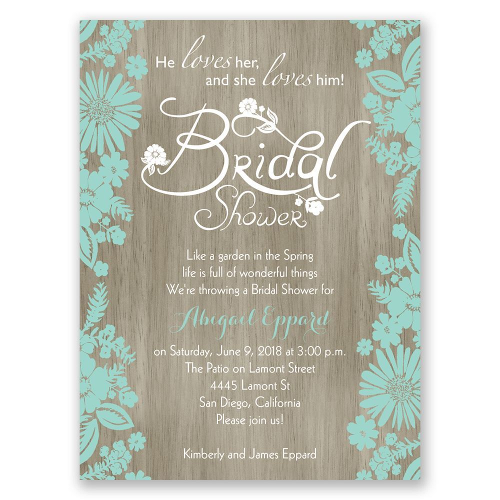 Flowers and Woodgrain Petite Bridal Shower Invitation  Invitations By Dawn