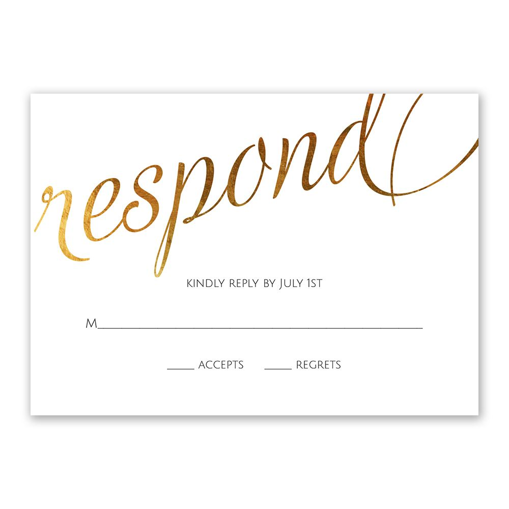 Old Style Script Foil Response Card Invitations By Dawn