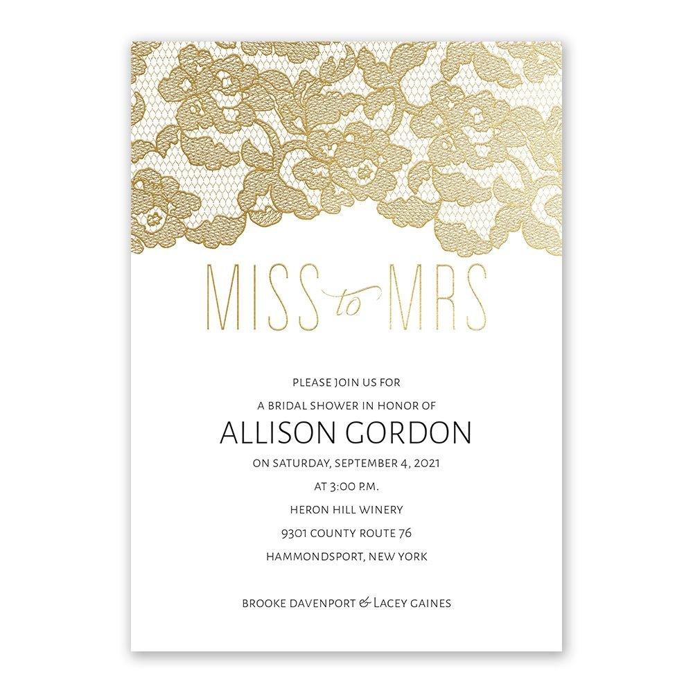 Miss To Mrs Foil Bridal Shower Invitation Invitations