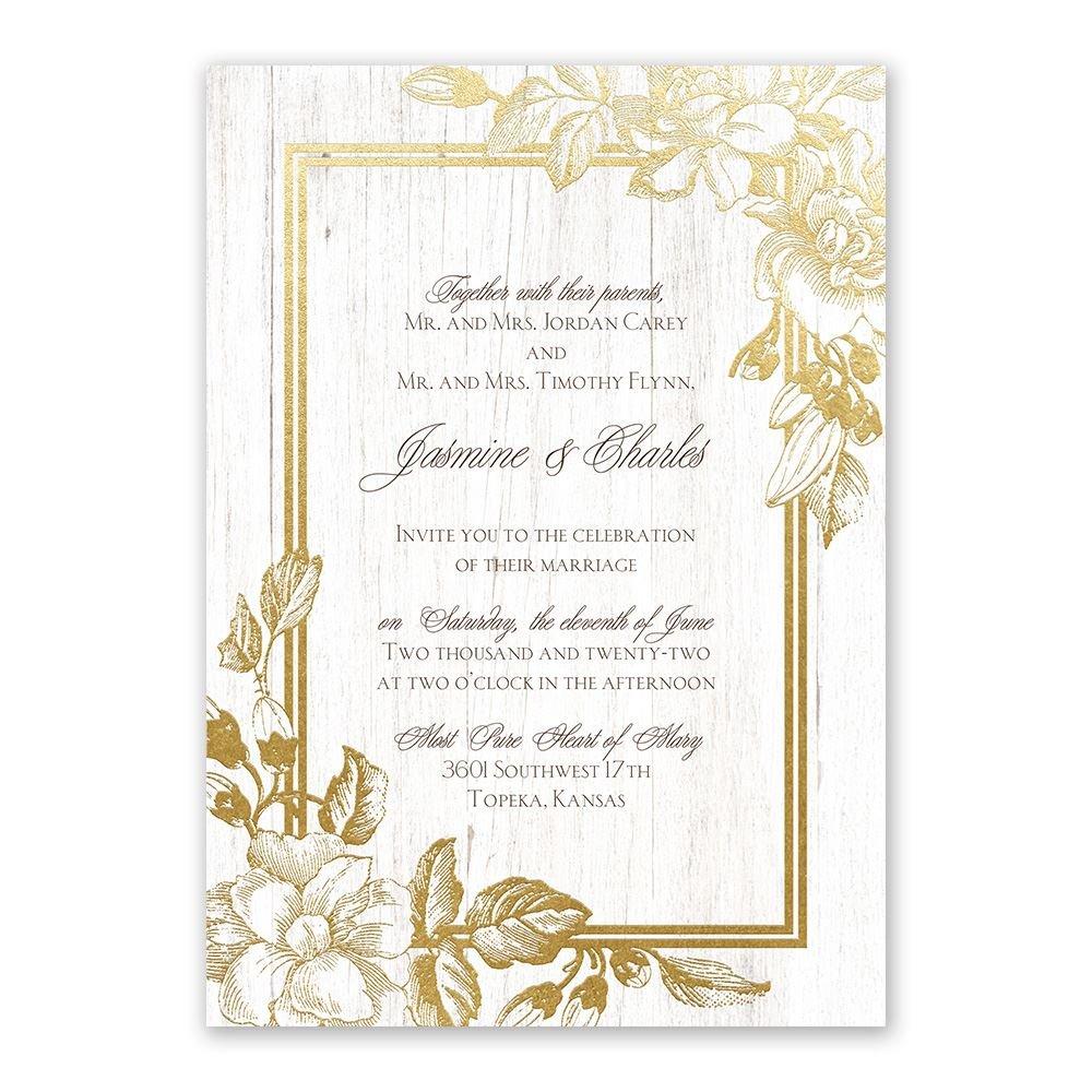 Gardenia Glow Foil Invitation  Invitations By Dawn