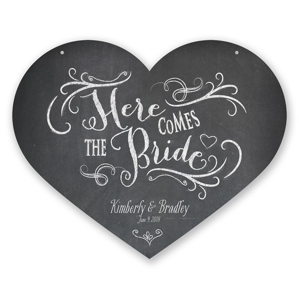 HeartShaped Here Comes The Bride Sign Invitations By Dawn
