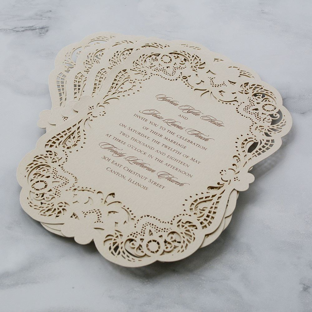 Opulent Lace Laser Cut Invitation  Invitations By Dawn