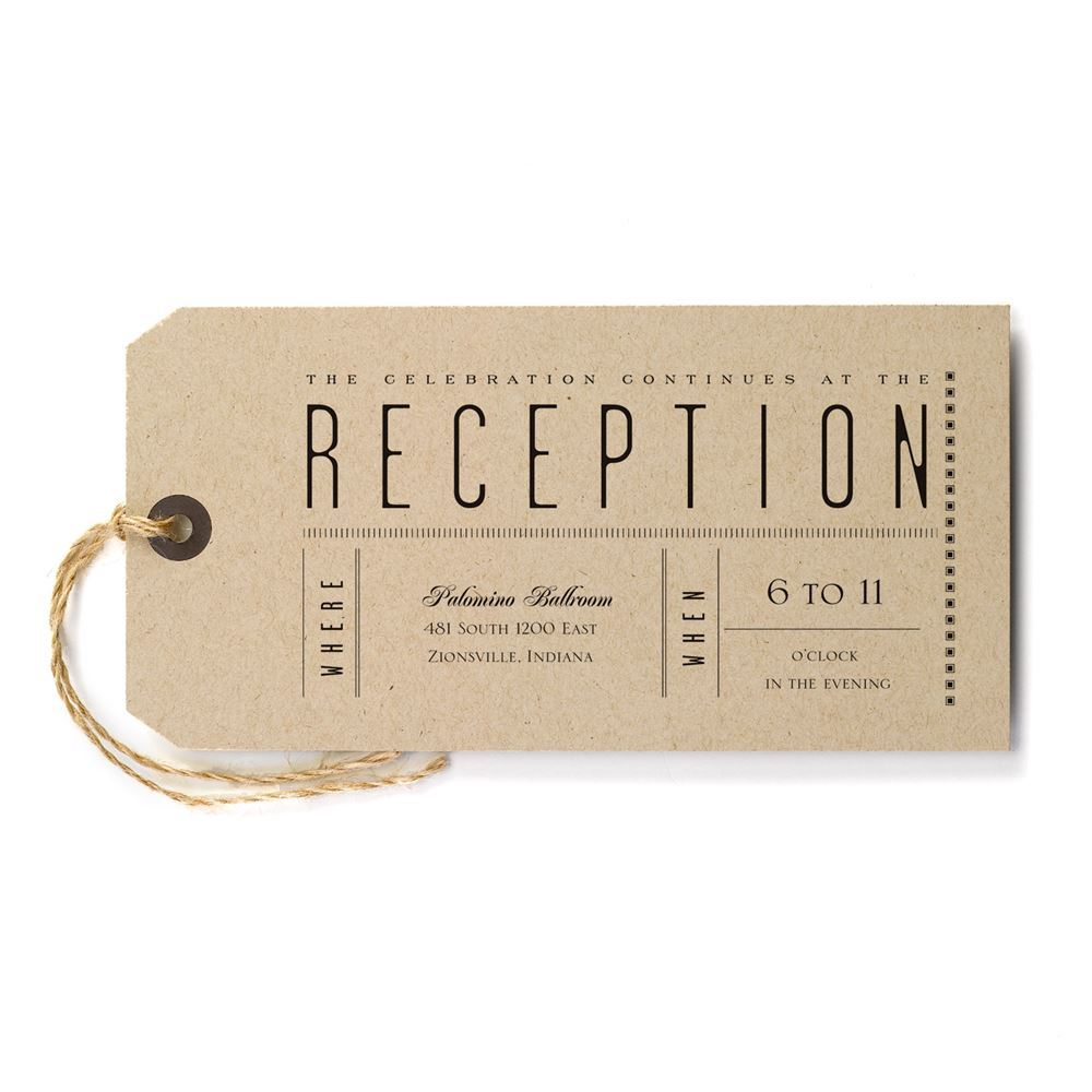 Just The Ticket Reception Card Invitations By Dawn
