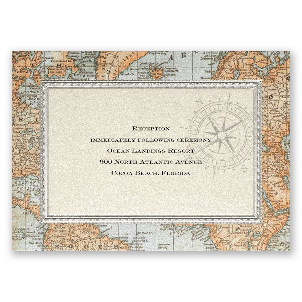 Antique World Map Reception Card Invitations By Dawn