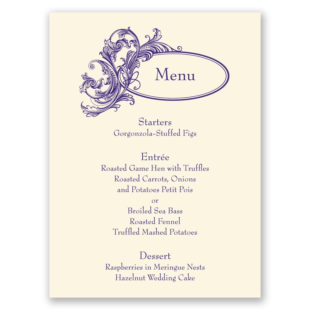 Posh Flourish Menu Card Invitations By Dawn