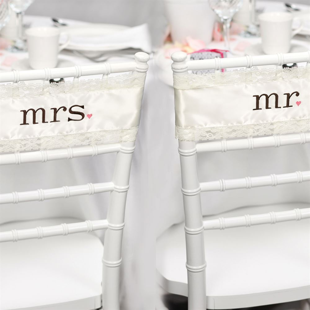 Mr and Mrs Satin Chair Sashes  Invitations By Dawn