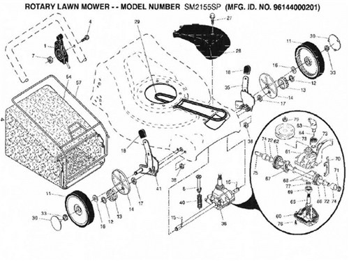 Black Max Lawn Mower Parts for Model 96144000201 for sale