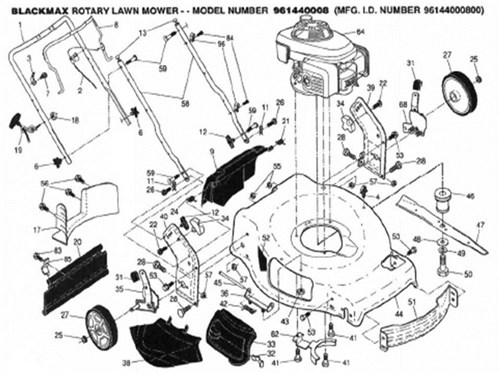 Black Max Lawn Mower Parts for Model 961440008 for sale in