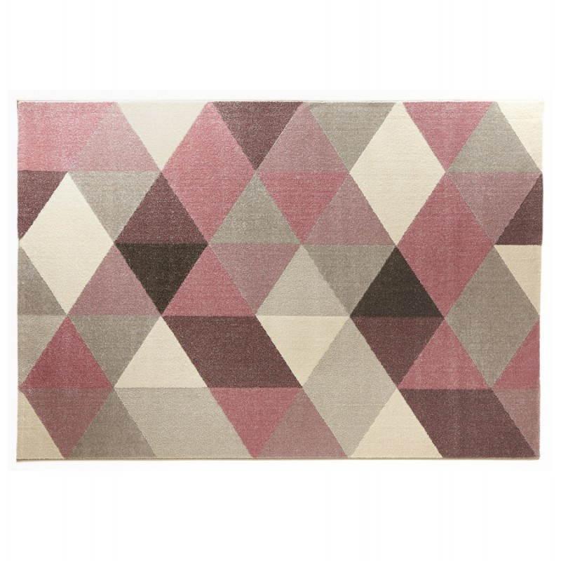 tapis design style scandinave rectangulaire geo 230cm x 160cm rose gris beige scandinave
