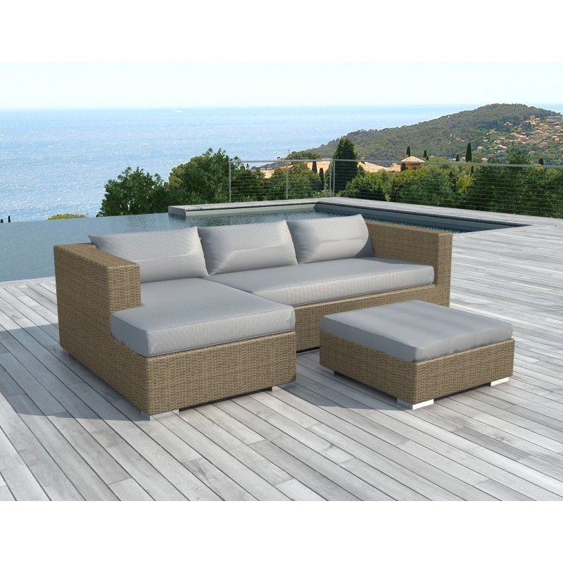 garden furniture 4 seater bilbao round braided resin beige light gray pillows garden lounge