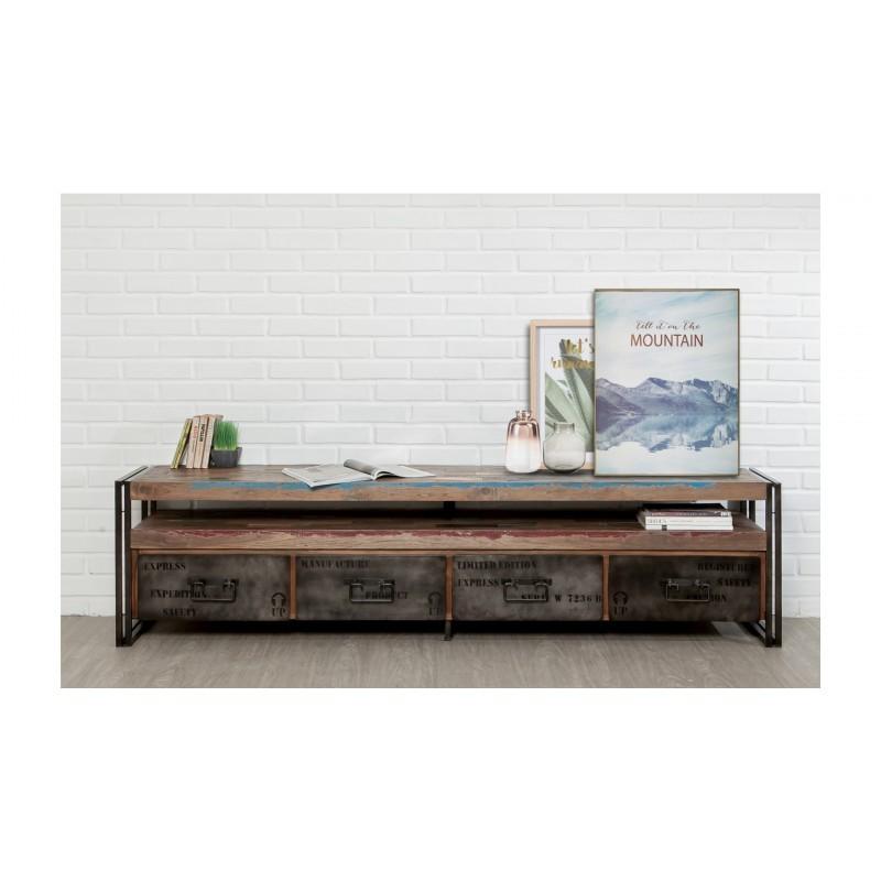 meuble tv bas 4 tiroirs 1 niche industriel 210 cm noah en teck massif recycle et metal meuble tv