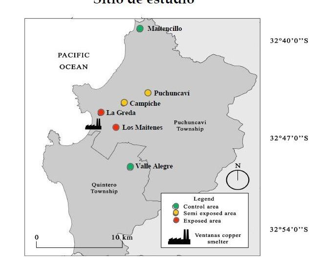 Sitio del estudio 'Suelo y polvo domiciliario como medios de exposición humana a metales en la comuna de Puchuncaví'