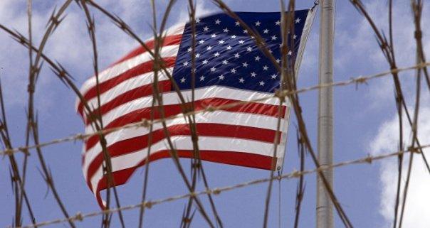 La bandera de EEUU en Guantánamo, Cuba