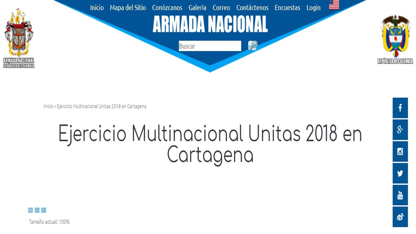 La página web de la Armada Colombiana con la información sobre los supuestos ejercicios militares Unitas Lix