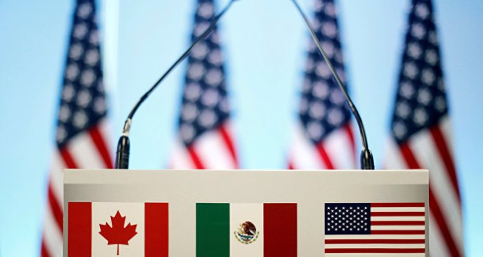 The flags of Canada, Mexico and the USA