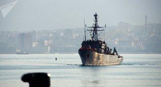 El buque Valentin Pikul llega a Novorossiisk después de realizar misiones de combate en el Mediterráneo, foto de archivo