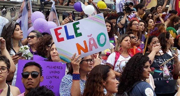 Protesta del movimiento feminista contra Jair Bolsonaro en Rio de Janeiro