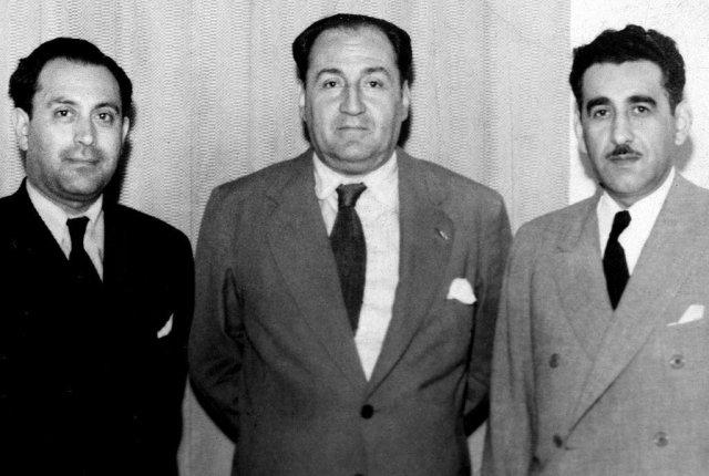 Bernardo Ibáñez, Víctor Raúl Haya de la Torre (centro) y Manuel Mandujano (archivo)