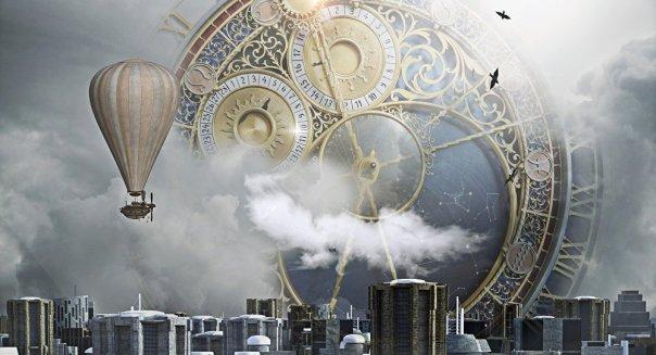 Un enorme reloj en el cielo sobre una ciudad