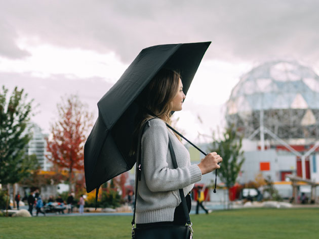 Handle sudden shifts in airflow easily. Even in a hurricane, this umbrella will not budge