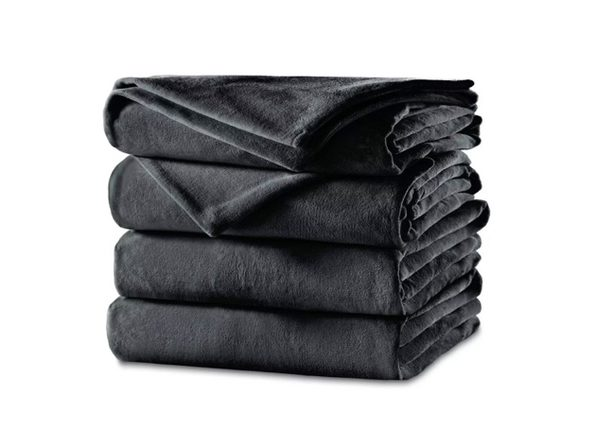 Sunbeam Velvet Plush Electric Heated Blanket King Charcoal Gray Washable Auto Shut Off 20 Heat Settings Charcoal Joyus