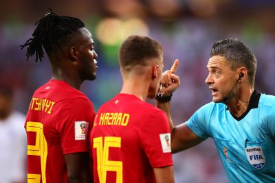 Watch: Michy Batshuayi hits himself in face during scoring celebration at World Cup World Cup Belgiums Batshuayi blasts himself in face with ball during celebration