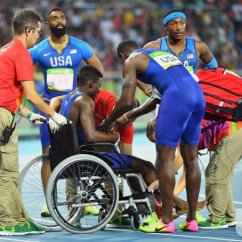 Wheelchair Olympics Chair Balance Ball Trayvon Bromell Sits In A At Rio Upi Com