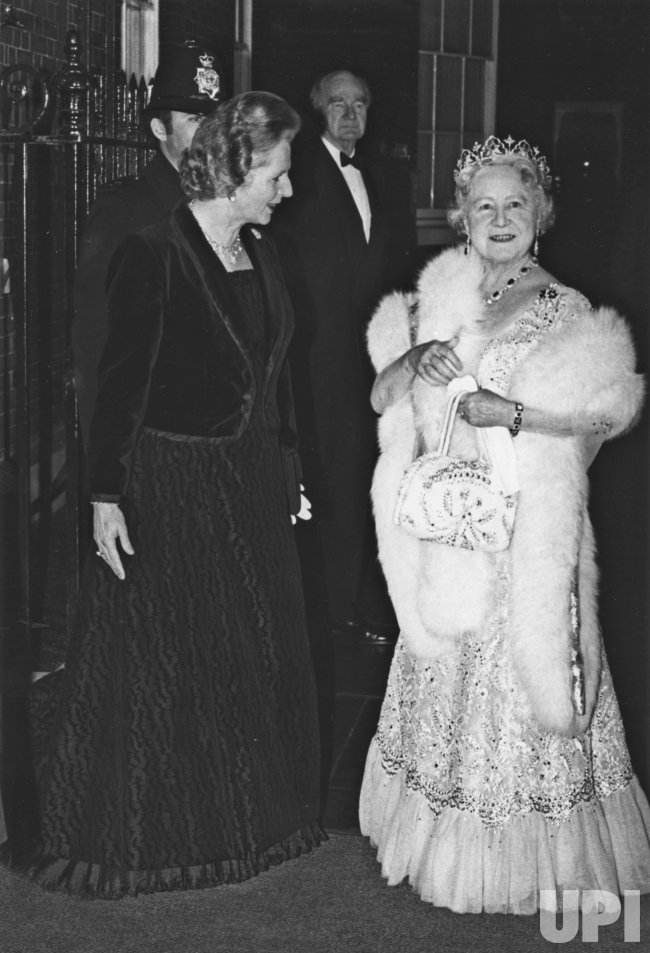 Margaret Thatcher Hosts Dinner Event For Queen Mother On