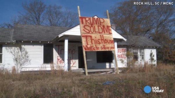Dilapidated house used for antiTrump message UPIcom