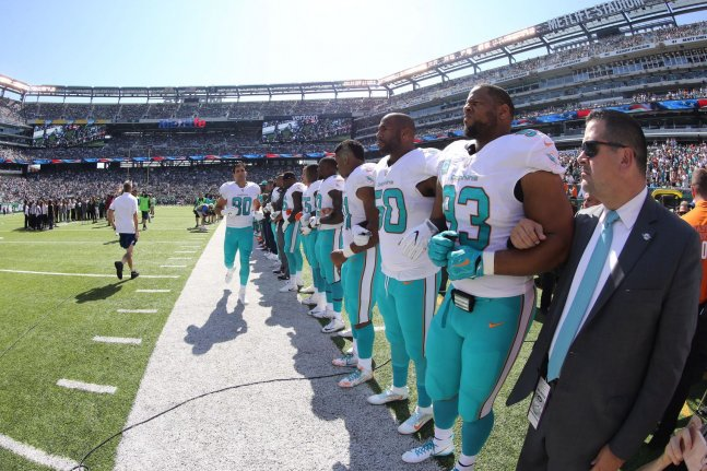 Watch: Coach Adam Gase doesn't see Miami Dolphins players being suspended for protests Miami Dolphins Adam Gase on possibility of anthem suspensions Good luck