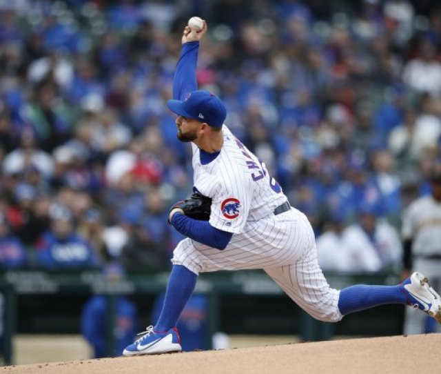 Chicago Cubs Starting Pitcher Tyler Chatwood Delivers A Pitch In The First Inning Of The Home Opening Day Game Against The Pittsburgh Pirates On April