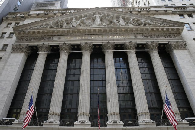 The New York Stock Exchange, pictured on Wall Street in New York City on June 26, saw stocks climb Thursday after a positive June jobs report. Photo by John Angelillo/UPI