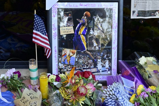 Flowers lie outside the entrance of the Mamba Sports Academy in Thousand Oaks, Calif., in memory of Kobe Bryant, who died in a helicopter crash Sunday morning in Calabasas, Calif. Bryant and his 13-year-old daughter, Gianna, were killed in the crash. Photo by John McCoy/UPI