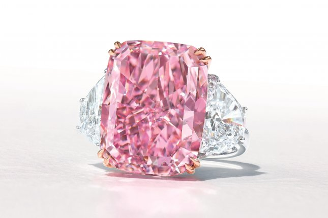 The Sakura Diamond, sold at auction for nearly $30 million on Sunday, is a world-record 15.8 carats. Photo courtesy of Christie's