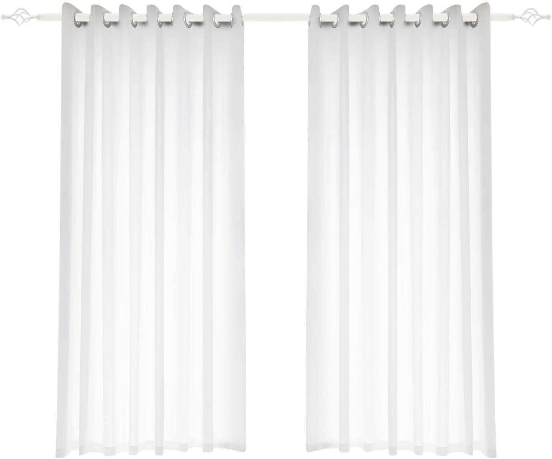 buy 1 piece sheer curtain window panel curtains bedroom living room grommet sheer drapes panels partial see through elegant drapes semi sheer white