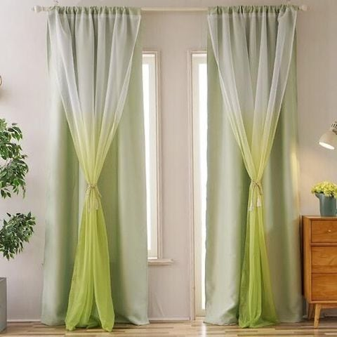 buy deals for less double layer window curtain set of 2 pieces green ombre design online shop home garden on carrefour uae