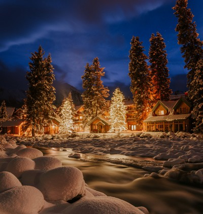 I took this photo during blue hour at the town of Lake Louise in Alberta, Canada by theoherbots
