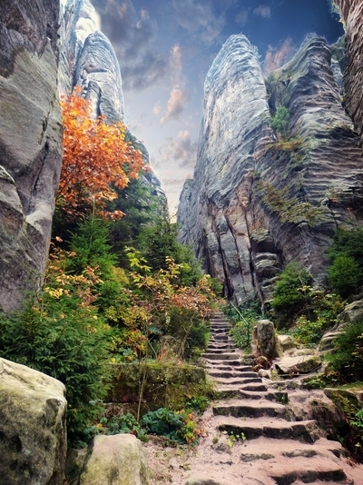Rough stone steps leading up. Taken in Czech Paradise, by theoherbots