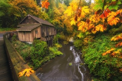 Beautiful fall colors on a wet drippy morning at the Cedar Creek Grist Mill by theoherbots