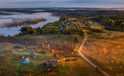 Dawn in the natural park. Veps Forest is a specially protected natural area of regional importance. Group of Vepsian villages (Makaryevskaya, Ka by theoherbots